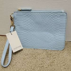 NWT Jules Kae Jen Snake Leather Pouch with Strap